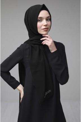 حجاب مزين باسم الماركة - اسود