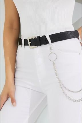 حزام نسائي جلد بسلسلة - اسود