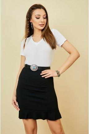 تنورة قصيرة سادة اللون - اسود