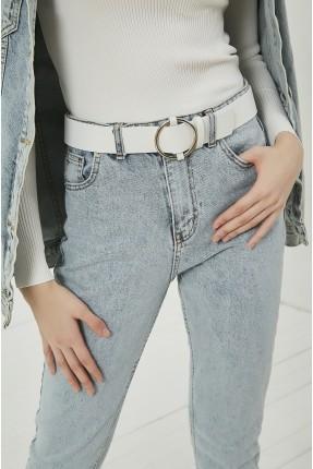 حزام نسائي جلد بحلقة معدنية - ابيض