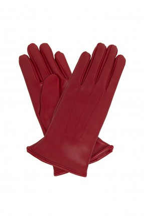 قفازات نسائية جلد - احمر