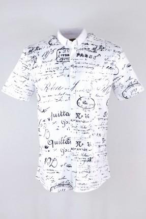 قميص رجالي نص كم مع كتابة