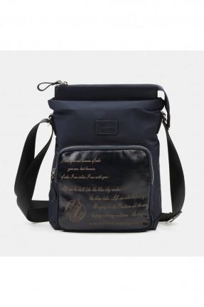 حقيبة يد رجالية بطبعة كتابة - كحلي