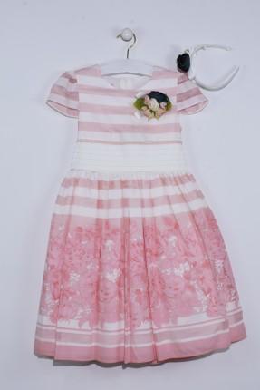 فستان اطفال بناتي مخطط - وردي