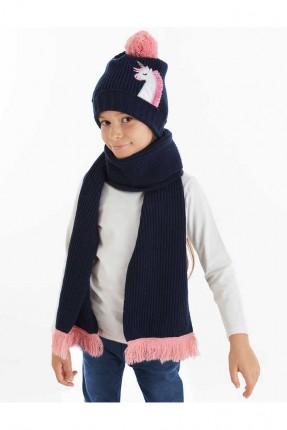 قبعة اطفال بناتي + لفحة بشراشيب