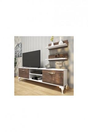 طاولة تلفزيون مع رفوف جدارية