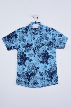 قميص اطفال ولادي مزخرف - ازرق