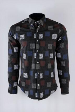 قميص رجالي كم طويل مزين بمربعات