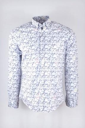 قميص رجالي مزخرف _ ابيض