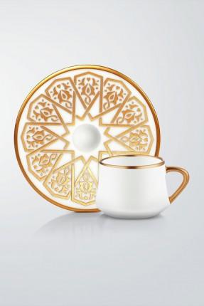 طقم قهوة 6 اشخاص - مزخرف برونز