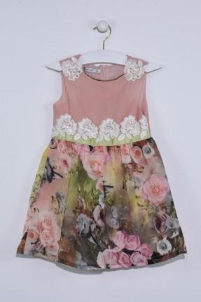 فستان اطفال بناتي مزخرف مع دانتيل ورد