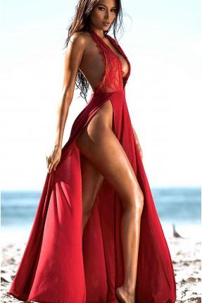 فستان لانجري بفتحة من الجنب