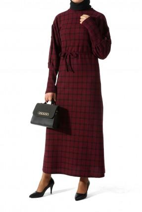 فستان طويل بنقشة كاروهات