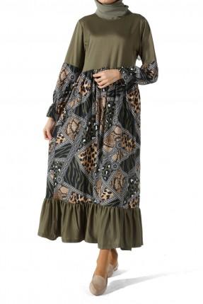 فستان طويل بنقشة مزخرفة - زيتي