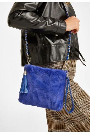 حقيبة يد نسائية فرو - ازرق