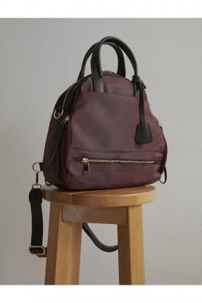 حقيبة ظهر نسائية بحزام وجيب - بوردو