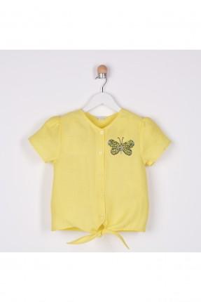 بلوز اطفال بناتي مزينة بربطة من الاسفل - اصفر