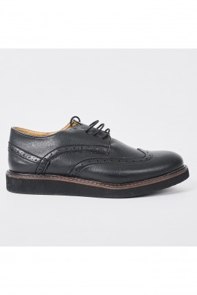 حذاء اطفال ولادي مزين باربطة - اسود