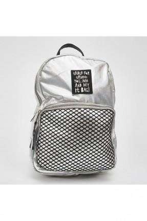 حقيبة ظهر اطفال بناتي مزينة بشبك وطبعة