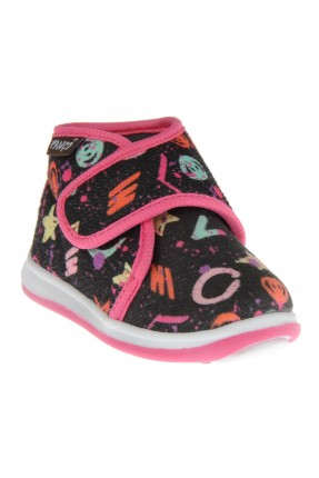 حذاء بيبي بناتي منزلي بلاصق ونقشة