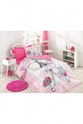 طقم غطاء سرير اطفال بناتي مبطن مزين برسومات