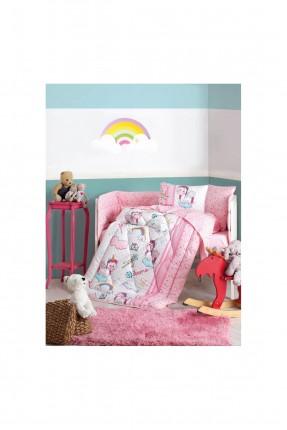 طقم لحاف سرير بيبي بناتي برسم