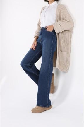 بنطال جينز نسائي واسع غامق