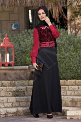 فستان رسمي لونين وبتفاصيل دانتيل