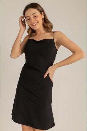فستان سادة اللون - اسود