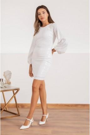 فستان رسمي مزين بالترتر - ابيض