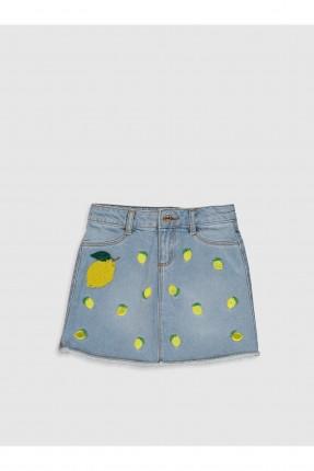 تنورة جينز اطفال بناتي مزينة بنقشة ليمون