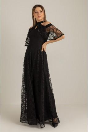 فستان رسمي بتفاصيل دانتيل - اسود