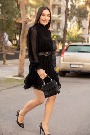 فستان بتفاصيل شيفون - اسود