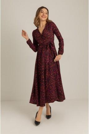 فستان بنقشة وربط على الخصر