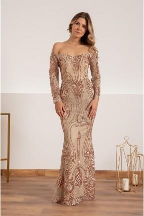 فستان رسمي بشك وبتفاصيل ترتر
