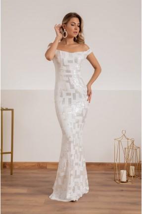 فستان رسمي بتفاصيل ترتر - ابيض
