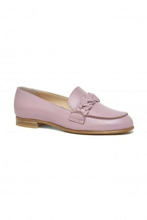 حذاء نسائي جلد - زهري