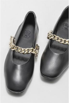 حذاء نسائي مزين بسلسلة معدنية - اسود