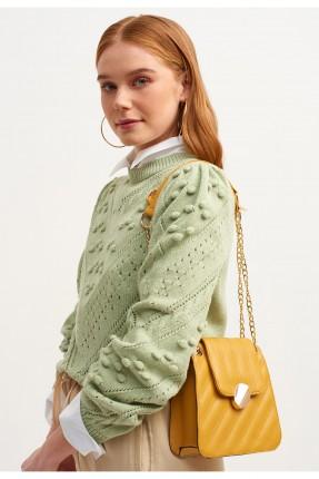 حقيبة يد نسائية جلد مزينة بسلسلة