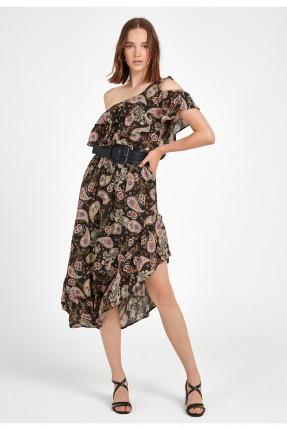 فستان متعدد الألوان بكتف واحد غير متماثل
