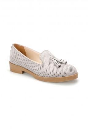 حذاء نسائي مزين بثقوب - رمادي