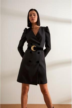 فستان رسمي قصير مزين بحزام على الخصر - اسود