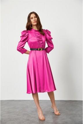 فستان رسمي مزين باكمام نفخ - فوشيا