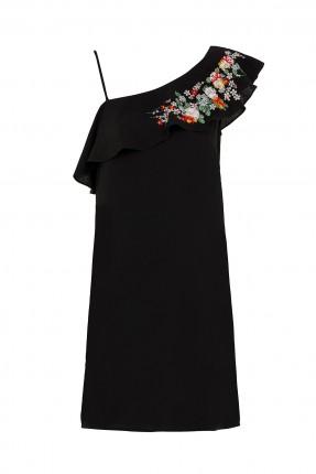 فستان قصير مطرز على الكتف
