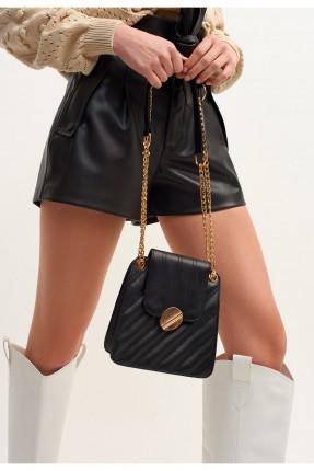 حقيبة يد نسائية جلد صغيرة بسلسلة