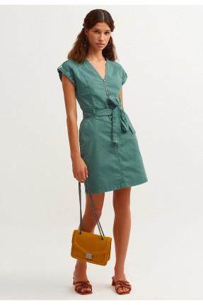 فستان بسحاب ورباط - اخضر