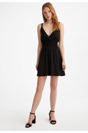 فستان قصير بخصر مطاطي - اسود