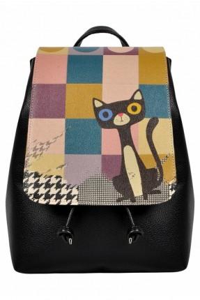 حقيبة ظهر نسائية بطبعة قطة