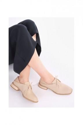 حذاء نسائي برباط وكعب - بيج
