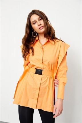قميص نسائي مزين بحزام - برتقالي